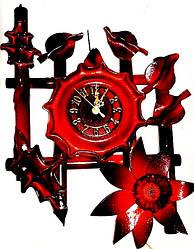 Настенные часы из кожи и бамбука Цветок