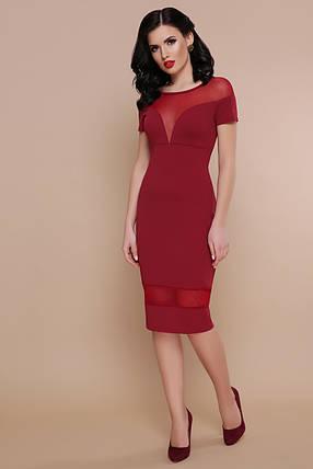 Модное платье миди приталенное вставки из сетки короткий рукав бордового цвета, фото 2