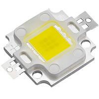 Мощный светодиод 10W 9V белый 2 х 2 см для прожектеров с ушками