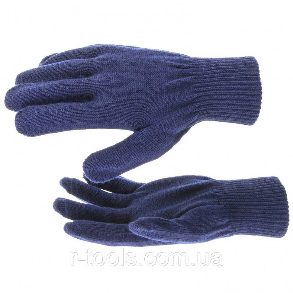 Перчатки трикотажные акрил синий двойная манжета Сибртех 68675
