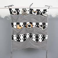 Детский органайзер тканевый 60*60см на деткую кроватку подвесной для хранения игрушек и книг