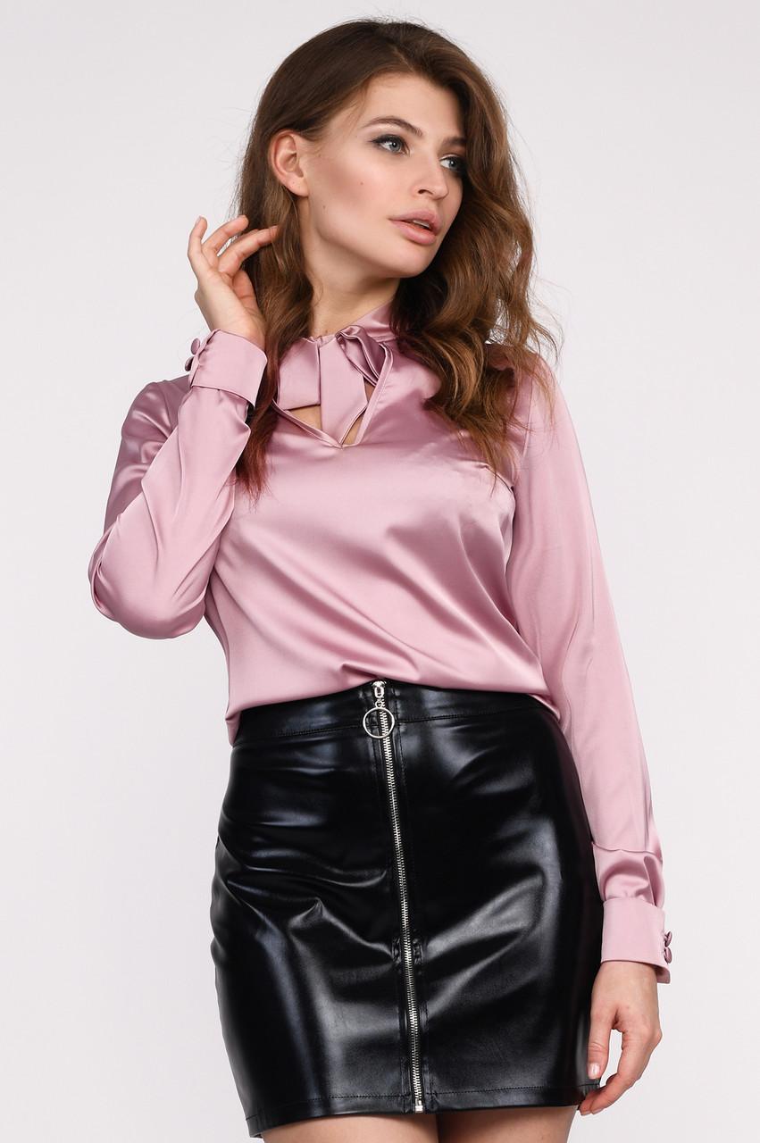 Шелковая блузка классическая пыльная роза