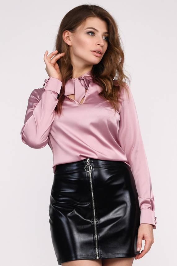 Шелковая блузка классическая пыльная роза, фото 2
