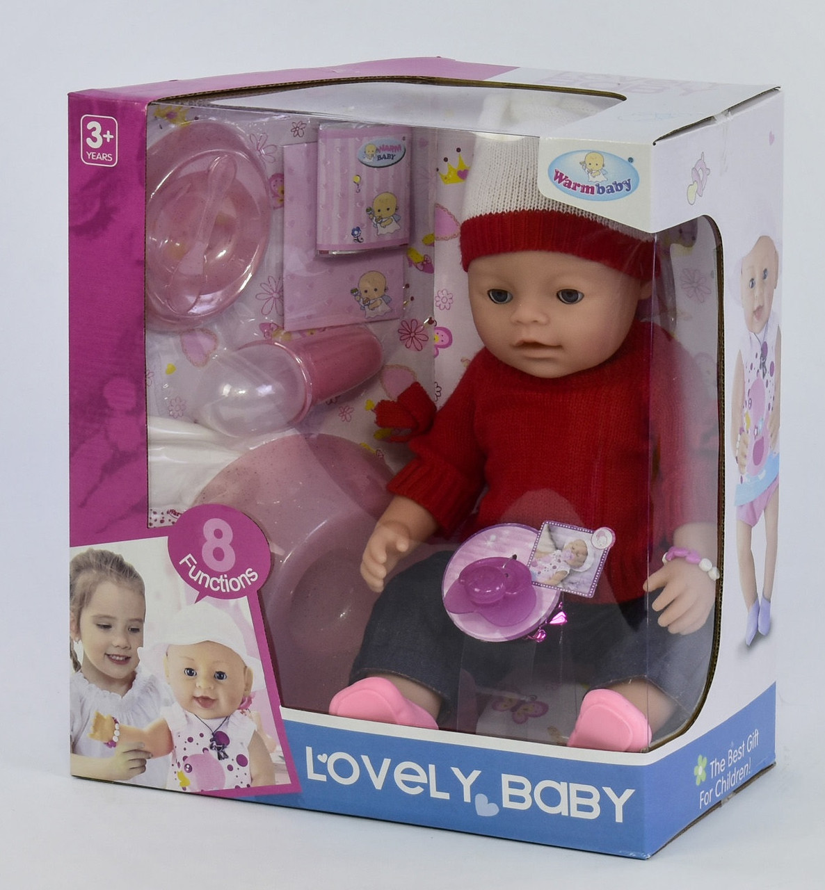 Пупс Lovely Baby в шапке и свитере с аксессуарами, 8 функций