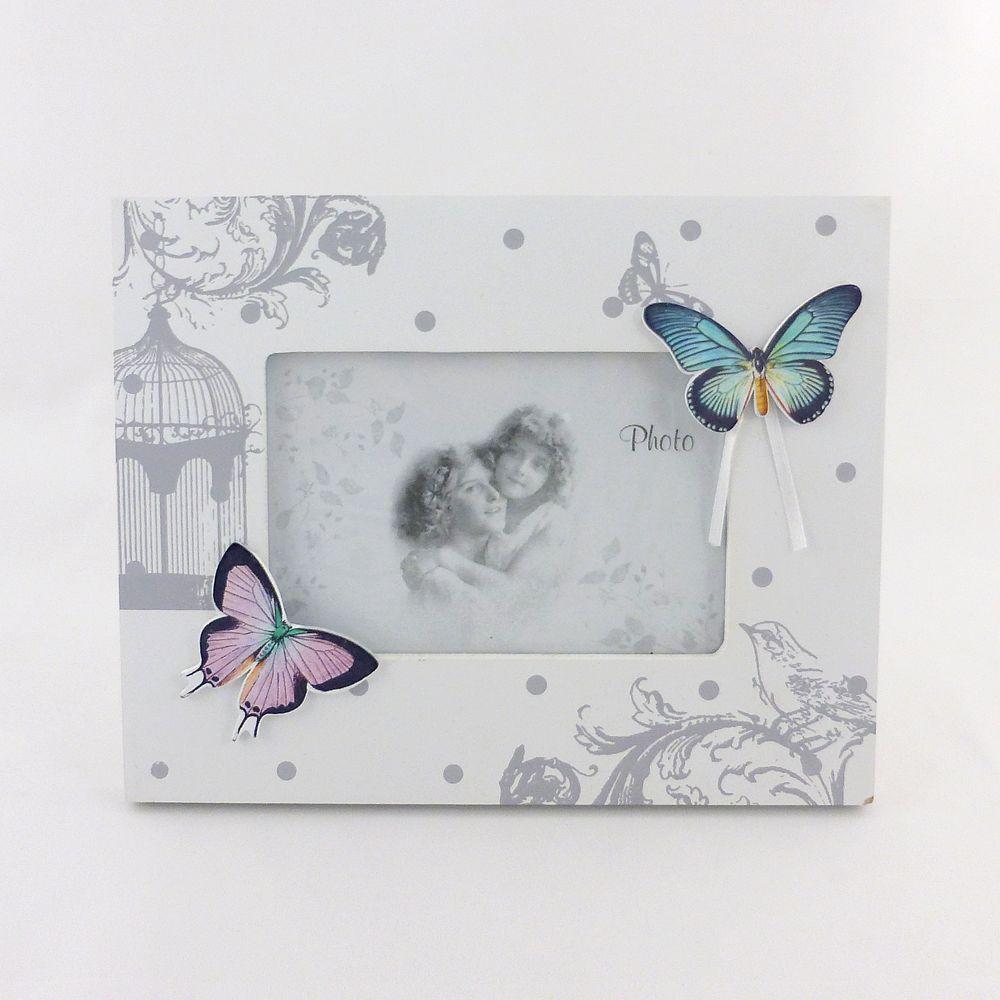 Фоторамка настольная белая Бабочки 2