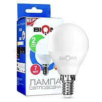 Светодиодная лампа Biom BT-566 G45 7W E14 4500К (нейтральный свет) матовая