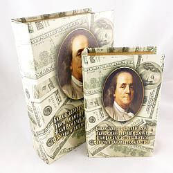 Шкатулка книга набор из 2 шт Доллары 22 см