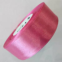Стрічка атласна 2,5 см. Рожева коралова, моток 23 м