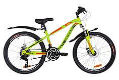"""Подростковый двухколесный велосипед 24"""" Discovery FLINT AM DD 2019 (зелено-красный (м))"""