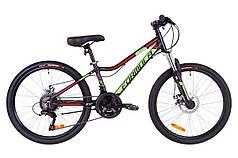 """Горный велосипед 24"""" Formula ACID 1.0 DD 2019 (черно-зеленый с красным (м))"""
