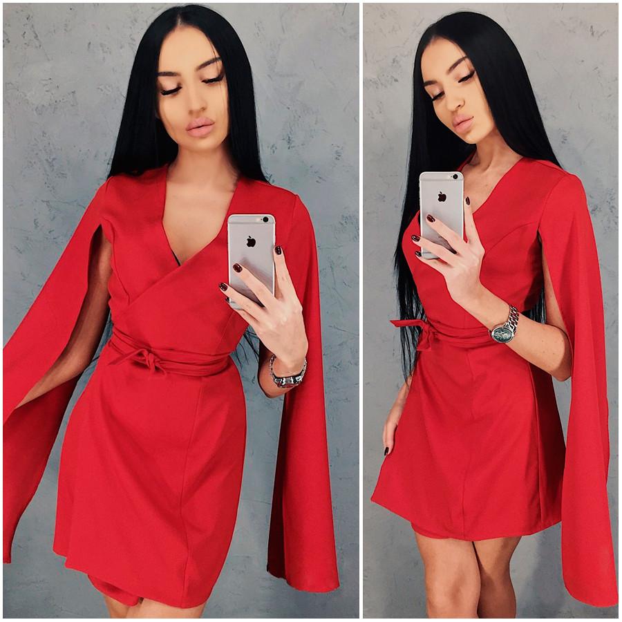 Красное платье-кейп Dora (Код 421) Реплика