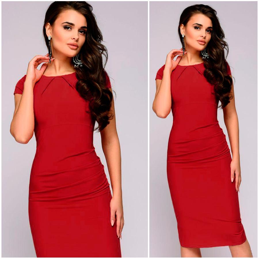 Красное платье-футляр Alexa (Код 426) Реплика