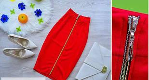 Красная юбка карандаш (код 016)  Реплика