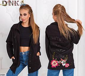 Черная Джинсовая длинная куртка пиджак оверсайз лето весна размер S M L