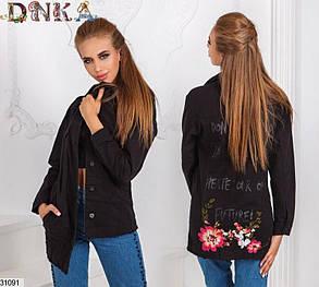 Черная Джинсовая длинная куртка пиджак оверсайз лето весна размер S M L , фото 2