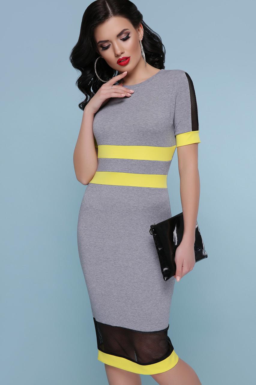 057c21df633 Модное платье по фигуре миди вставки прозрачные короткий рукав серое с  желтым -