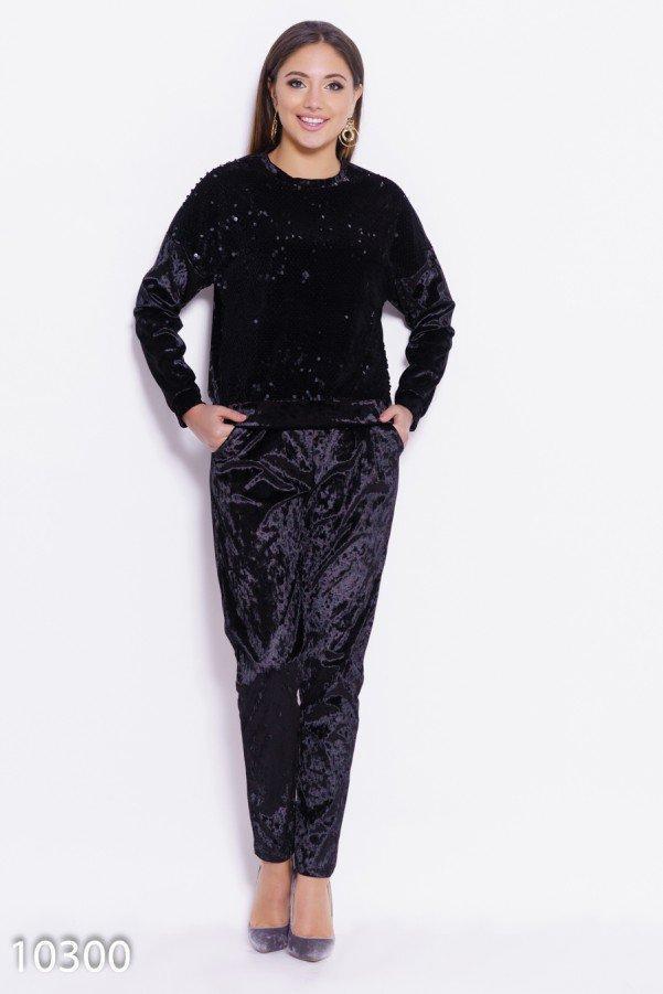 Черный велюровый спортивный костюм с пайетками Реплика