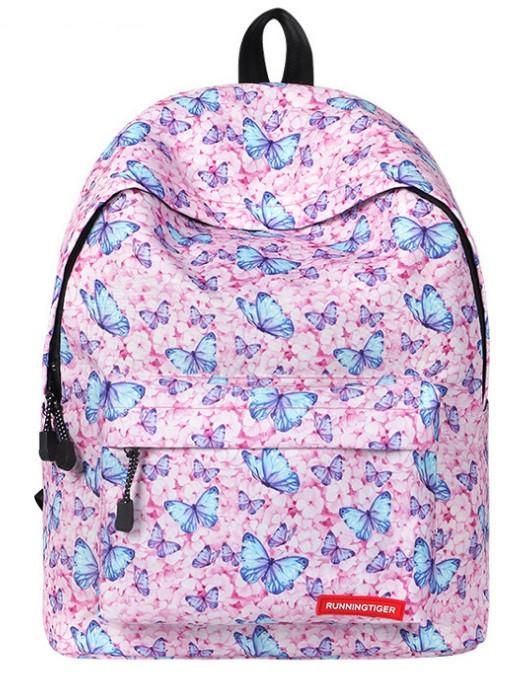 Рюкзаки для девочек с принтом бабочки и единорога.