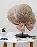Стильная женская летняя соломенная шляпа с бантом пудрового розового цвета