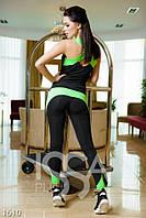 Черный с салатовым спортивный костюм из эластика с оригинальной маечкой Реплика