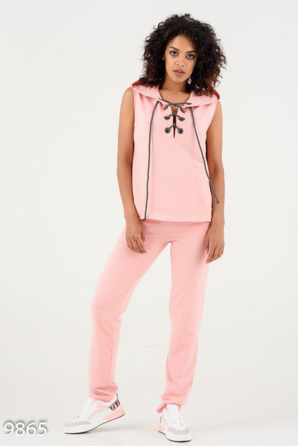 Розовый спортивный костюм со шнурованной жилеткой с капюшоном Реплика