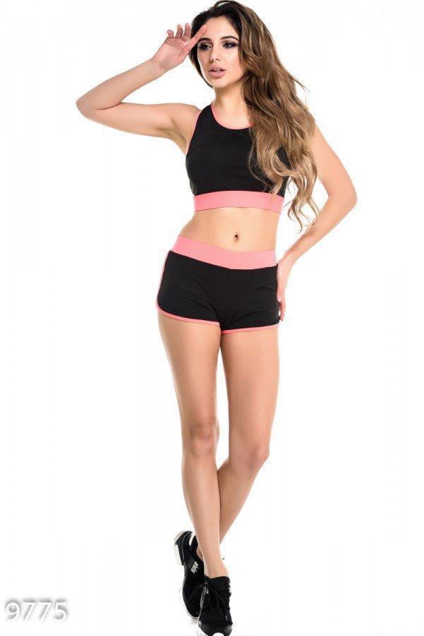 Черный с розовым спортивный костюм из шортов и топа с открытой спиной Реплика