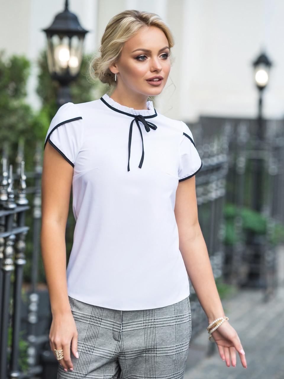 (S, M, L, XL) Молодіжна біла блузка з кортким рукавом Kastra