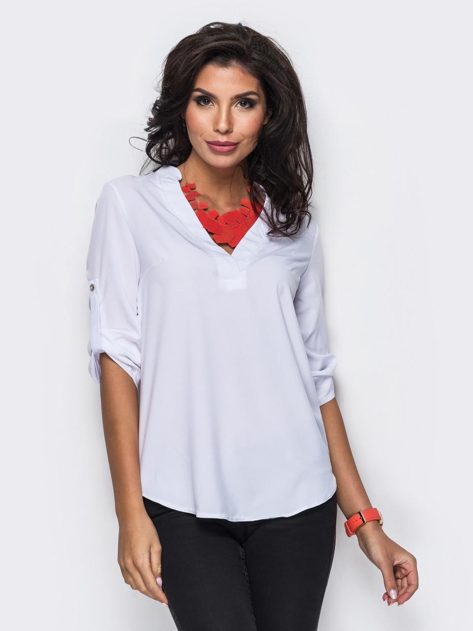 (S, M, L, XL) Зручна повсякденна біла блузка Alora
