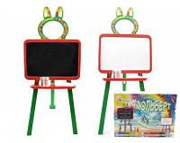 Детская 2 сторонняя Доска-мольберт для рисования магнитная (Оранжево-зелёная)