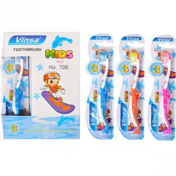 Зубные щётки детские «Vinsa Soft» 15 см дельфин, с 3-х лет  708