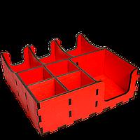 Органайзер деревянный красный с отверстиями д/крышек 30*30