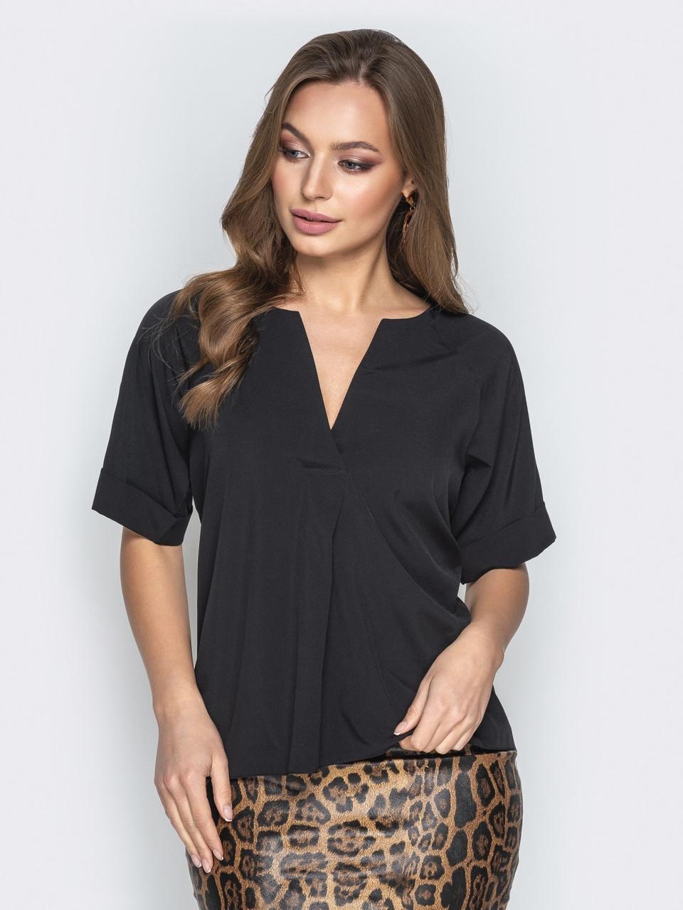 (S, M, L, XL) Стильна повсякденна чорна блузка Sheron