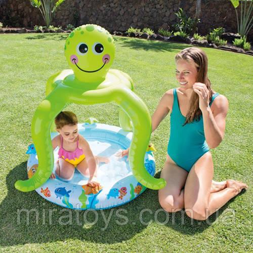 ✅Надувной бассейн детский с навесом Intex 57115 Осьминог