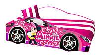 Кровать машина Minnie Mouse с матрасом, спойлером и подушкой Детская кровать машина розовая Серия Elite 70*150, без ящика, без механизма