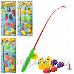 Рыбалка 555-1-2-3-4B (180шт) удочка магнитная, фрукты/овощи,утка2шт,4вида, на листе, 17-43-4,5см