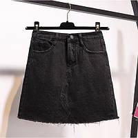 Джинсовая женская юбка трапеция черная, фото 1