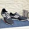 Кроссовки кожаные мужские синего цвета, на шнуровке, фото 3