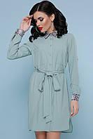 Стильное платье рубашка мини прямого кроя с поясом воротник питон цвет фисташка