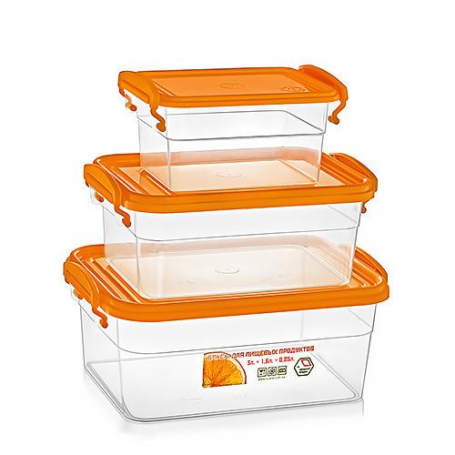 Набір пластикових контейнерів з ручками 0,85+1,6+3л (прямокутний), СЕРЕДНІЙ, НП (арт. №59)