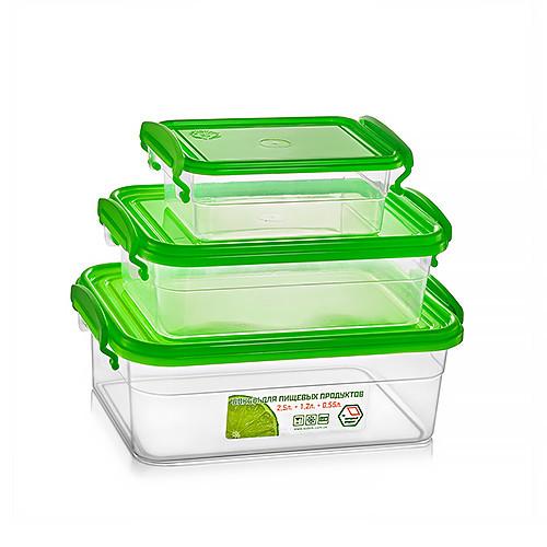 Набір контейнерів з защіпками 2,5+1,2+0,55л (прямокутний), МАЛИЙ, НП (арт. №58)