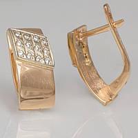 Золотые серьги с фианитами. СП355