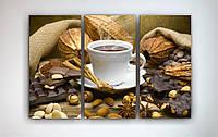 Картина модульная для кухни Горячий шоколад Плитка шоколада Современный натюрморт 90х60 из 3х частей
