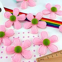 (5шт) Фетровая высечка, вырубка Ø=6см  (заготовка из фетра) Цена за 5шт Цвет - Розовый