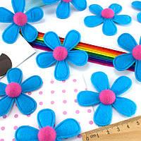 (5шт) Фетровая высечка, вырубка Ø=6см  (заготовка из фетра) Цена за 5шт Цвет - голубой