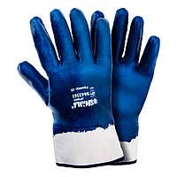 Перчатки трикотажные c нитриловым покрытием (синие краги) Sigma 9443361, фото 1
