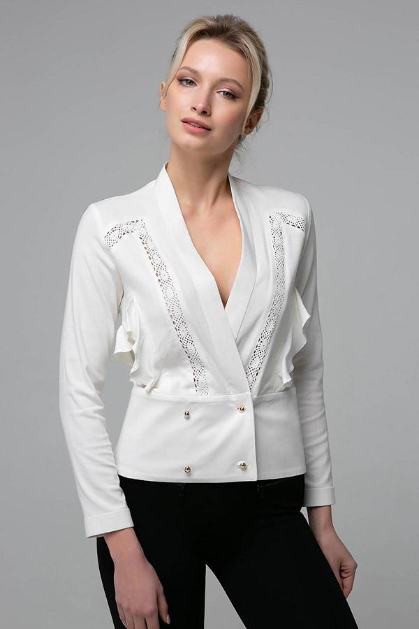 07e11f18c71 Короткая блуза со вставками из кружева TERI белая (S