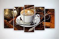 Оригинальная картина на кухню Чашка кофе Кофейные зерна Капучино 125х70 из 5 модулей
