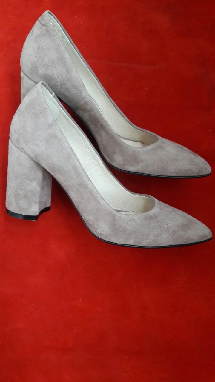faf06bcf1 Женские бежевые туфли на толстом каблуке из натурального замша р.36-40. -