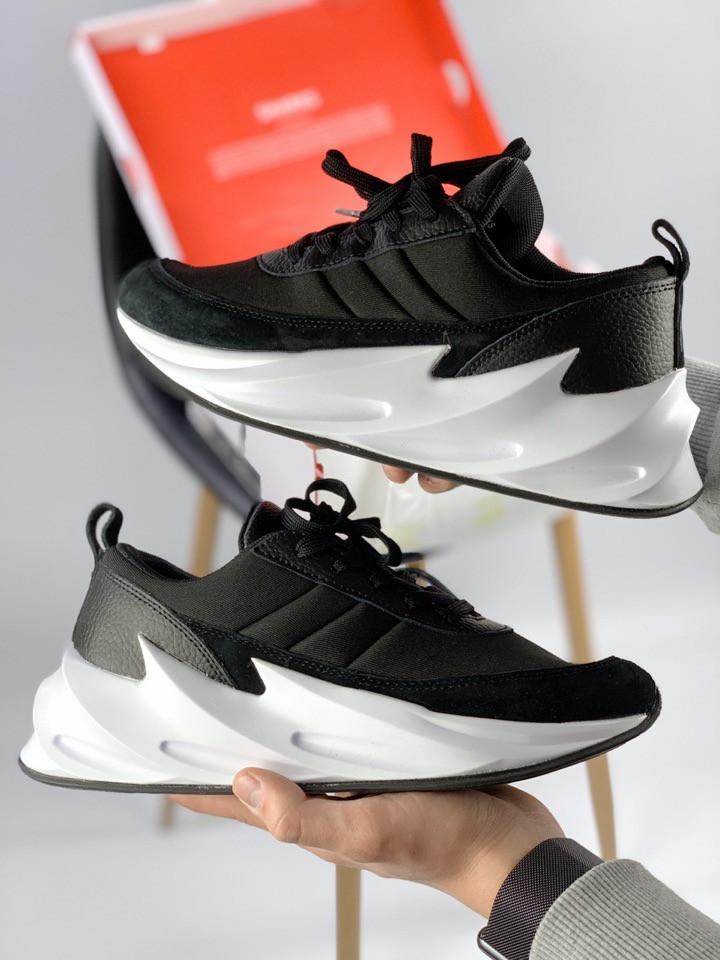 Женские кроссовки Adidas Sharks Black. Кожа, текстиль