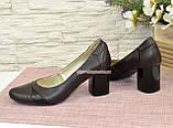 Женские кожаные классические туфли на устойчивом каблуке, черная и коричневая кожа, фото 3